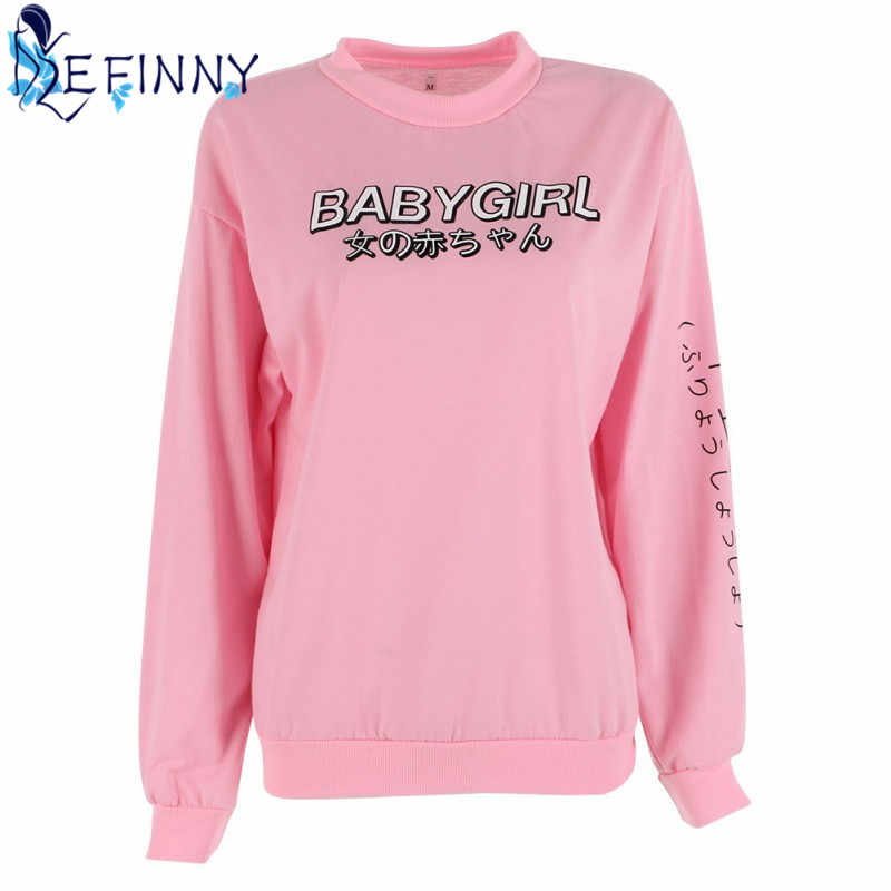 Casual Style Women Sweatshirts  Streetwear Japanese Worlds Printed Long Sleeved Hoodies Casual Pink Black O-neck Hot Tops Newest