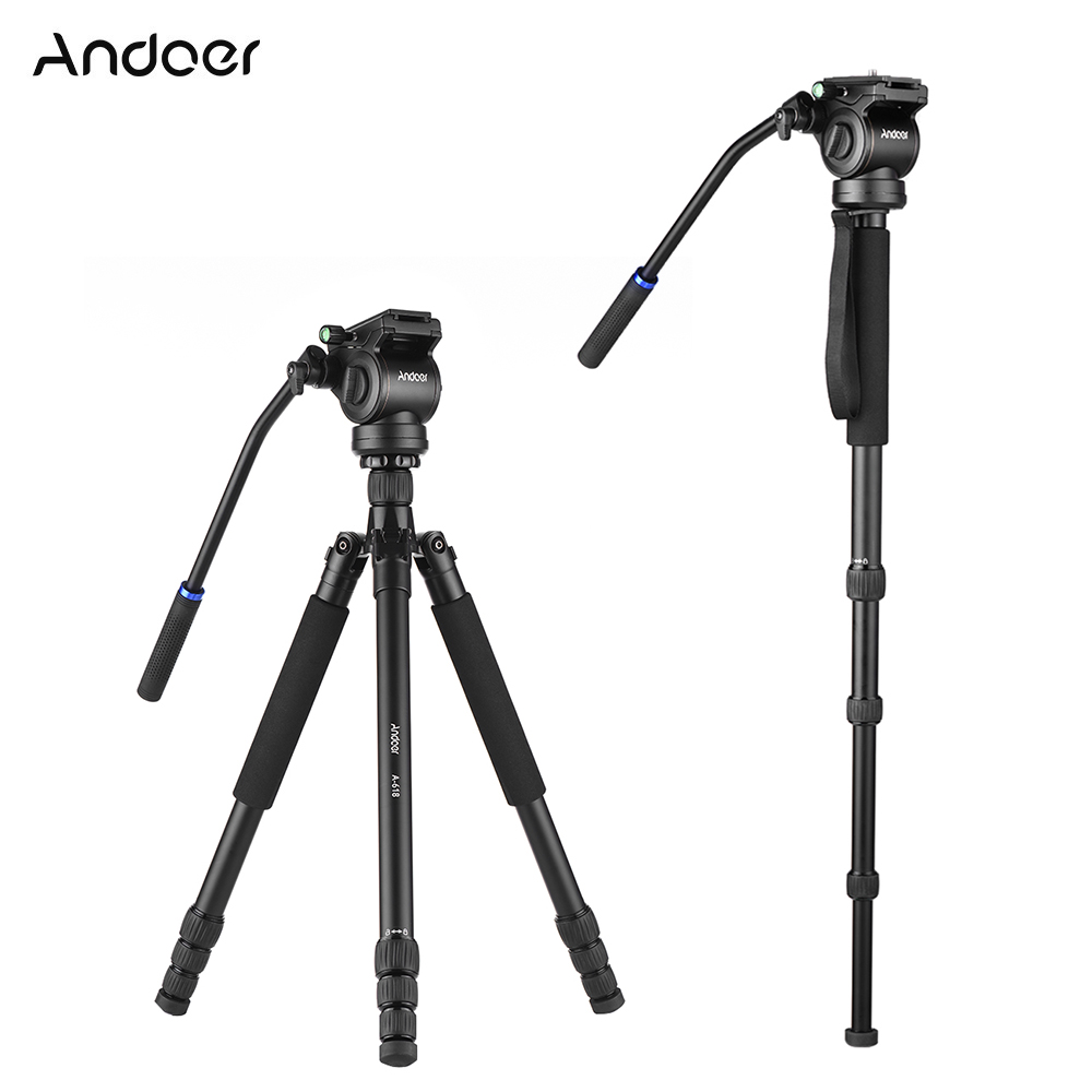 "Andoer A 618 180cm/71"" Multi functional Camera Tripod Video Monopod w/ Hydraulic Damping Head for Canon Nikon DSLR Sony A7 ILDC-in Tripods from Consumer Electronics    1"