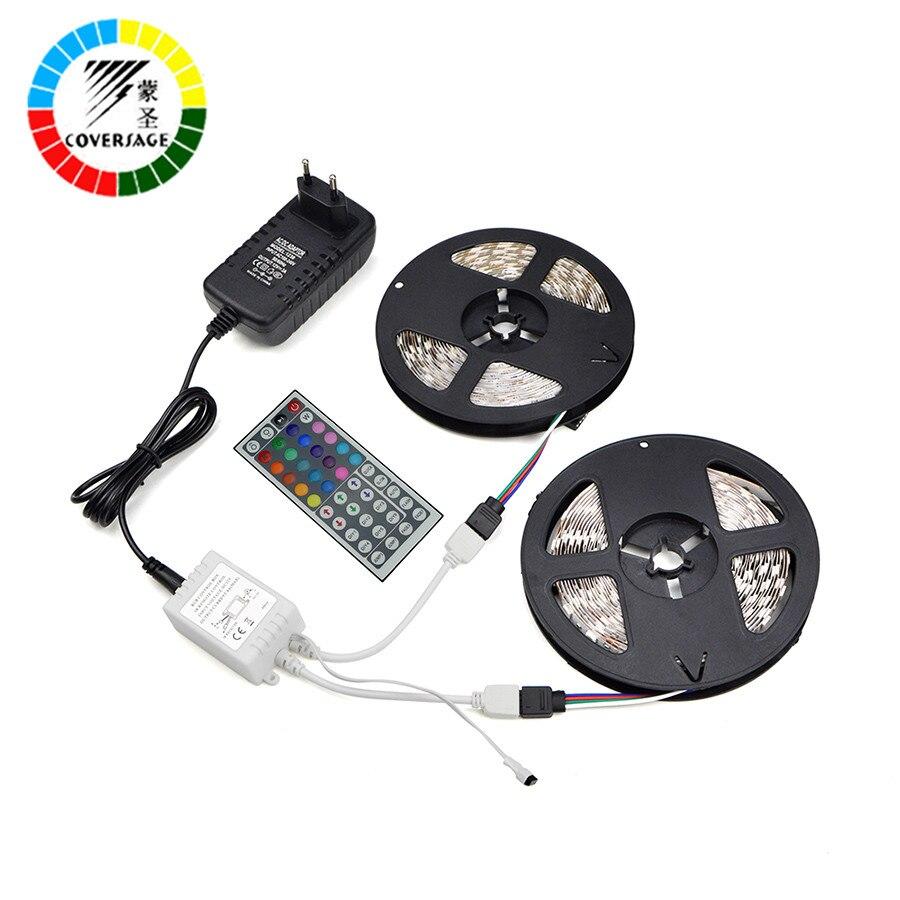 Coversage RGB 3528 10 M tira de Led 600 Leds IP65 impermeable luz de techo DC12V 6A 60 Leds/M controlador remoto casa decoración lámpara