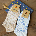1Pair/lot Summer Style Cute Lovely Cartoon Blue Whale Cotton Socks For Women Girls Sock Fashion Slippers Ladies Ankle Meias