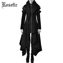 Rosetic Autumn Gothic trench Vintage Fashion Women Overcoats Slim Plain Belt Gir