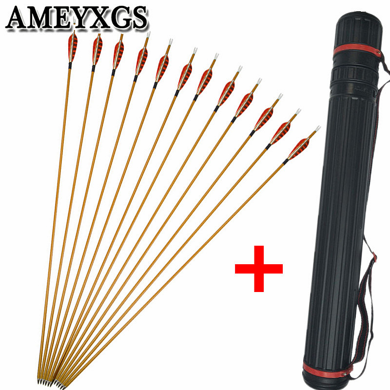12pcs 31 quot Archery Carbon Arrow Spine 900 Arrow Carbon 3 quot Turkey Feather With Arrow Quiver Shooting Traget Training Accessories in Bow amp Arrow from Sports amp Entertainment
