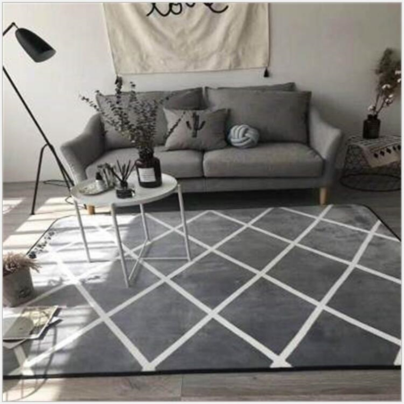 AOVOLL Gray Geometric Lattice Soft Carpet Bedroom Door Carpet For Living Room Printed Floor Mat Rugs For Table Sofa