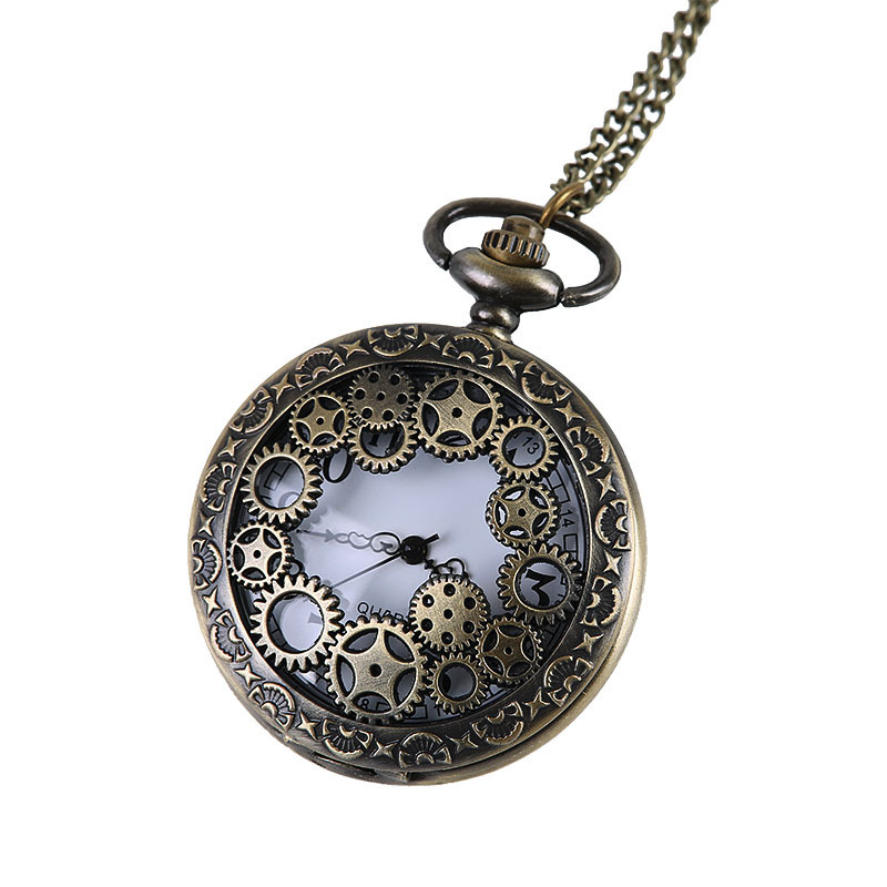 Vintage Steampunk Retro Bronze Gear Design Pocket Watch Quartz Pendant Necklace Gift Women Men Nurse Watch Reloj De Bolsillo