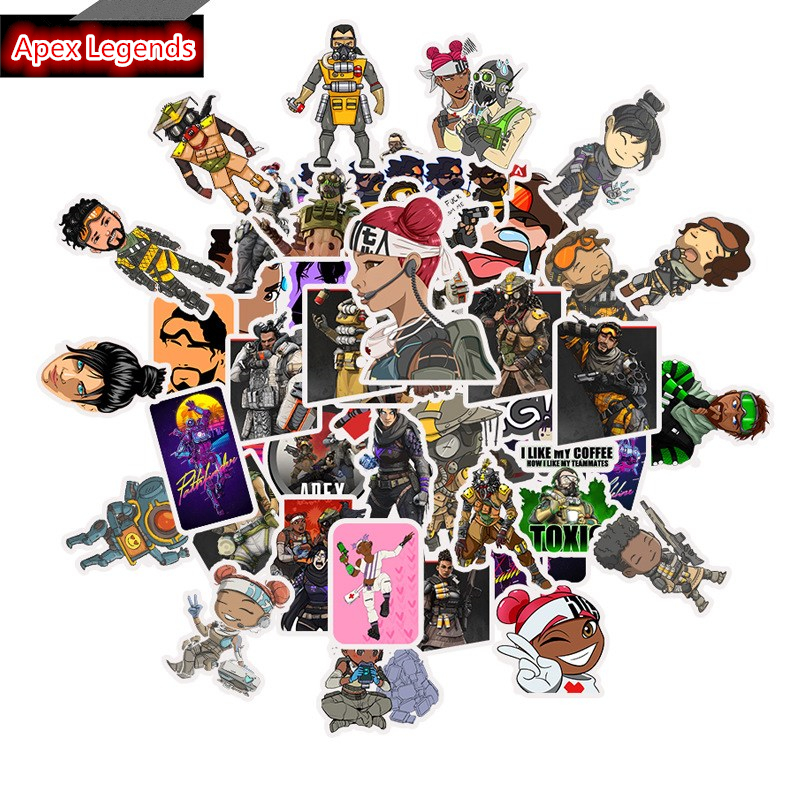 New 50Pcs Hot Game Apex Legends Stickers Luggage Laptop Guitar DIY Photo Albums Fridge Surfboard Skateboard Bicycle Sticker Gift
