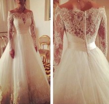 Real Model Wedding Gown A Line Boat Neck Sweep Train Tulle Off Shoulder Long Sleeve Wedding Dress With Appliques MF497