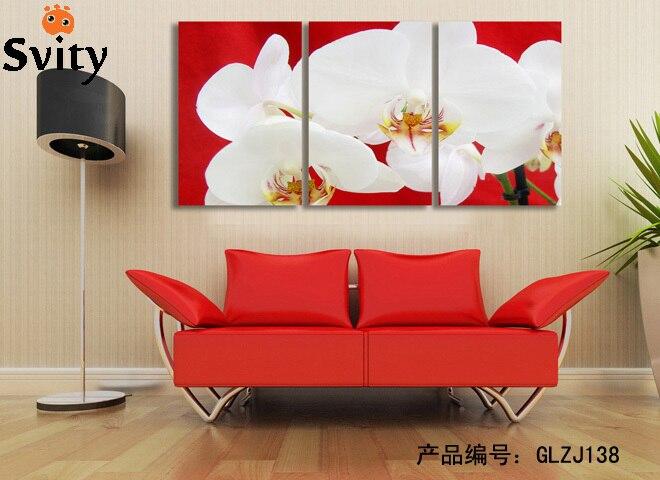31fad02fd ديكور المنزل غرفة المعيشة جدار الفن صورة كوادروس decoracion النفط اللوحة  زهرة 3d لوتس طباعة على قماش (لا إطارات)