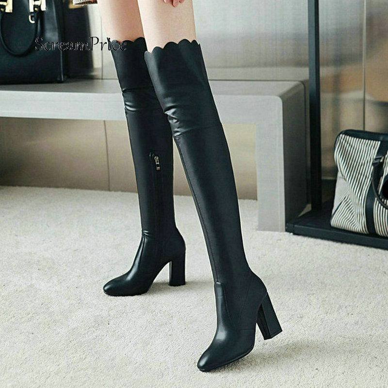 Woman Square High Heel Side Zipper New Over The Knee Boots Winter Stretch Boots Fashion Thigh Boots Black
