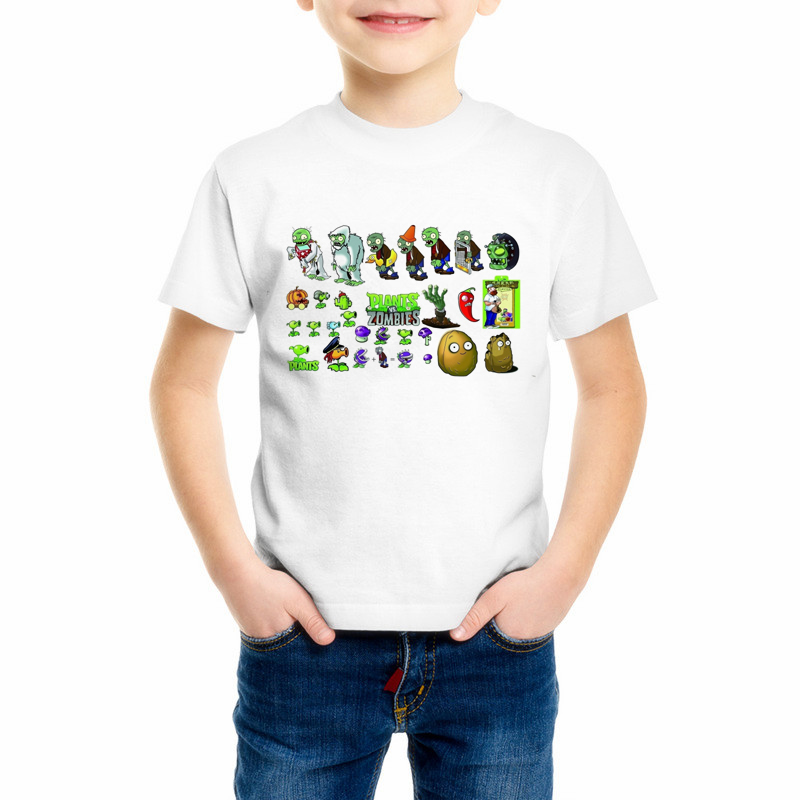 Children Plants Vs Zombies Print Funny Girls/Boys T-Shirts Kids Summer Tops Short Sleeve Clothes Game Baby T shirt 55C-20 shein kiddie solid white knot graphic letter print kids t shirt girls tops 2019 summer short sleeve casual crop kids shirts tee