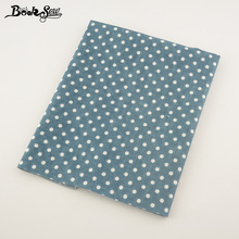 Booksew Blue Color Cotton Linen Fabric Dots Design Home Textile Sewing Material Tissu For Bag Table Cloth Curtain Decoration CM