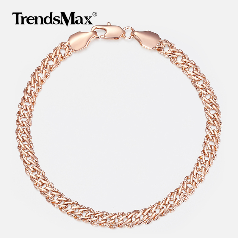 Trendsmax 5mm Bracelets for Women Girls 585 Rose Gold Venitian Curb Link Bracelets Woman Fashion Party Jewelry 18cm 20cm KGB428