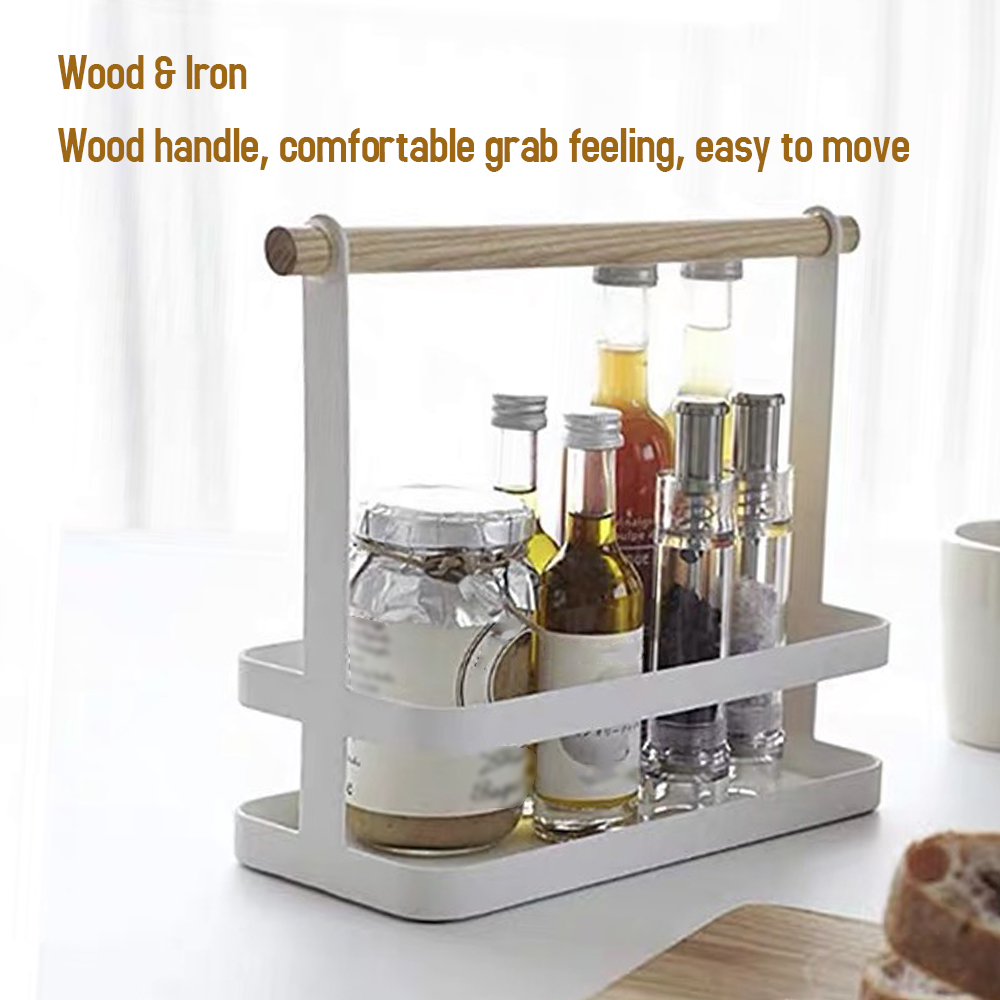 Wood Handle Storage Rack for Kitchen Spice Bottle Home Organizer Portable Spice Rack Kitchen Cabinet Storage Organizer