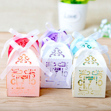 RMTPT 50Pcs/set  Bride and Groom Laser Cut Gift Candy Boxes Wedding Party Favors gift wedding candy box party supplies