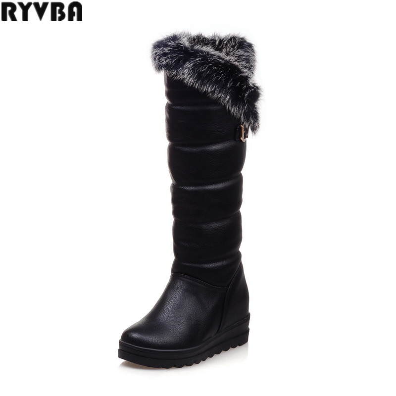 RYVBA woman knee high snow boots fashion thick plush warm thigh high boots winter boots for women shoes womens female sexy flats ryvba woman winter mid calf snow boots women fashion womens half knee boots ladies shoes female warm thick plush boots flats
