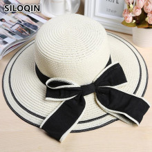цена на SILOQIN Summer Women's Bow Tie Straw Hat Fashion Sun Hats For Women New Style Casual Large Sun Visor Wind Rope Fixing Beach Hat