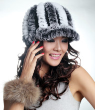 Winter fur hats for women natural rex rabbit fur baseball caps winter thicken warm knitted white red caps H104