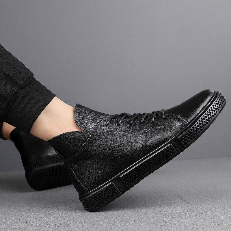 Qualidade Size 46 Pele No Homens Inverno Plus Quente Fur Sapatos Superior Genuínos De Fur Botas Couro 38 black Black Preto 8gFSwpqw