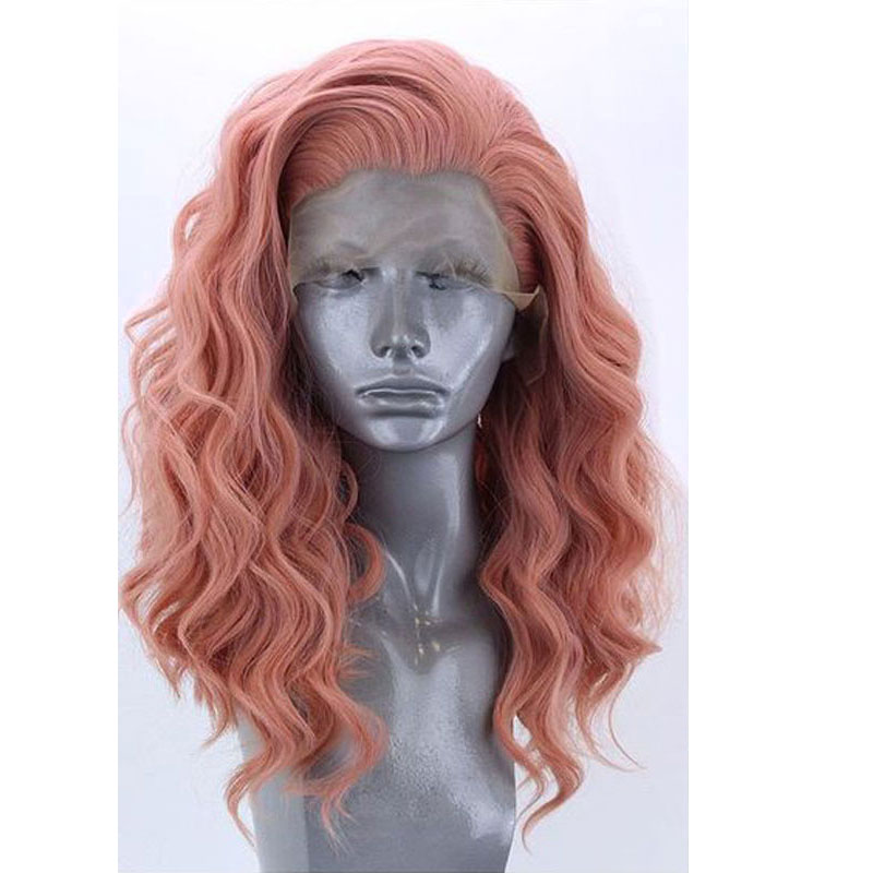 Bombshell Natural Wave Synthetic Hair Lace Front Wigs Glueless Living Pink Heat Resistant Fiber Hair Free Parting For Women Wigs-in Synthetic Lace Wigs from Hair Extensions & Wigs    1