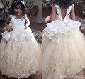 Branco/Marfim Meninas Vestidos Pageant Andar de Comprimento Vintage Vestidos de Comunhão vestido de Baile Apliques vestido de Primeira Comunhão Vestidos Para Meninas