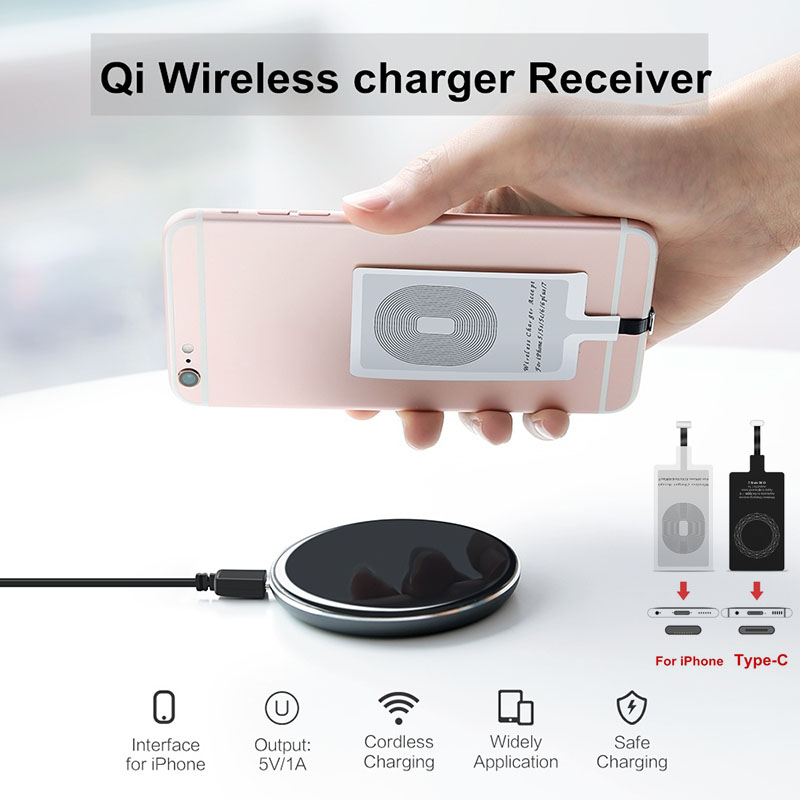 Etmakit Universal Qi Wireless Charger Receiver Card Charger Adapter Pad Coil For IPhone/Type-C NK-Shopping