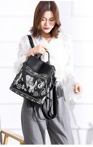 Image 5 - Fashion Anti theft Women Elephant Print Backpacks Ladies Large Capacity Shoulder Bags Waterproof Oxford and PU School Travel Bag