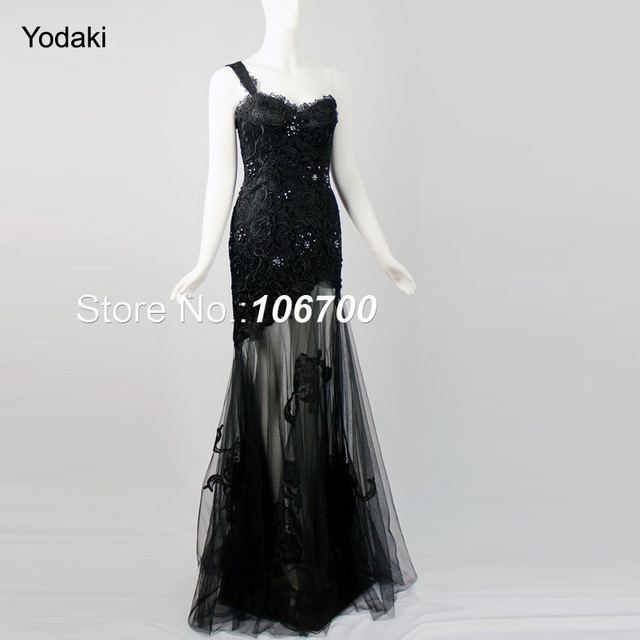 2a371ef4896a Black Long Prom Dress One Shoulder Sweetheart Appliques Lace Hand Made  Crystal Beading Plus Size Mermaid Evening Dress