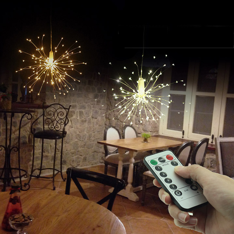 AA Battery LED Starbust Light Hanging String Lights 100/200LED 50 Branch Fairy Twinkle Light 8 Mode Christmas Wedding Decoration