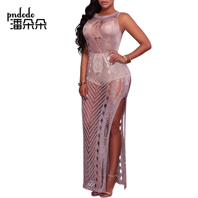 Pndodo 2018 Ladies Summer Beach Sleeveless Dress Women Knitted Hollow Out Party Crochet Dress Elegant Sexy Club Long Maxi Dress