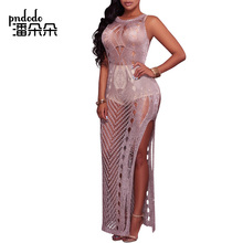 Pndodo 2018 Ladies Summer Beach Sleeveless Dress Women Knitted Hollow Out Party Crochet Dress Elegant Sexy Club Long Maxi Dress