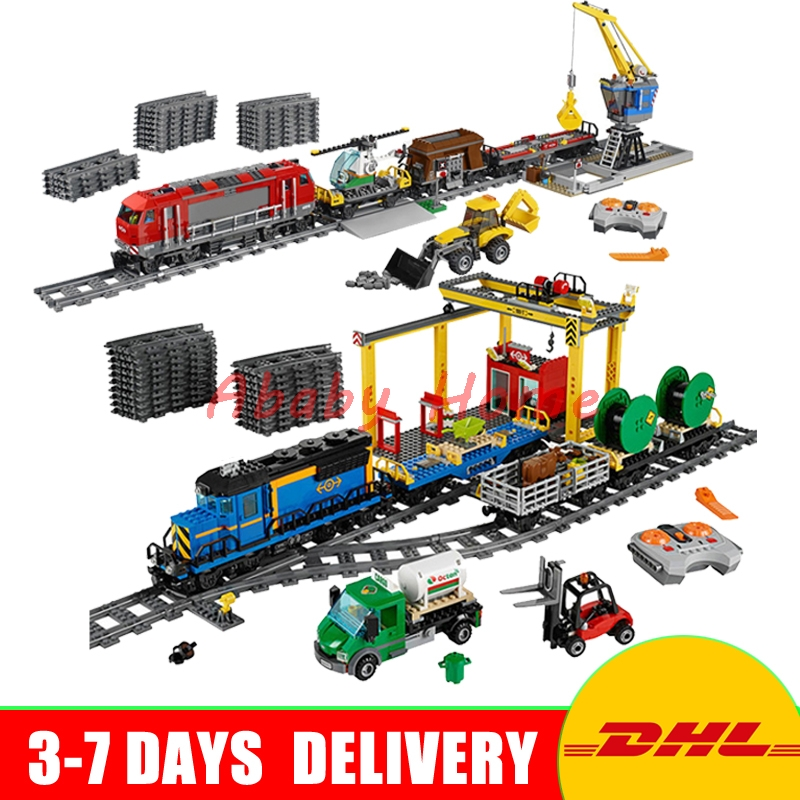 DHL Lepin 02008 Cargo Train+ 02009 Heavy-haul Train City Series Educational Building Block Bricks Model Toys Clone 60098 60052 train brisbane
