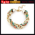 Bohemia  Gold Plated With Beads Chain Weave Braid Twisted Chunky Metal Patchwork Statement Punk Bangle Bracelets for Women