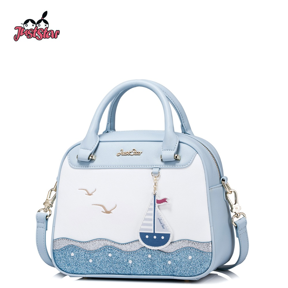 JUST STAR Women's PU Leather Handbag Ladies Sail Embroidery Tote Shoulder Purse Female Leisure Sea Boston Messenger Bags JZ4298 s cool