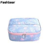 Women Wash Oxford Cosmetic Bag Travel Makeup Bag Korean Style Printing Waterproof Zipper Suitcase For Cosmetics