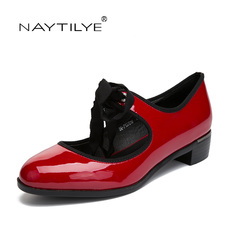Women's Flats shoes Fashion Spring/Autumn Round Toe PU leather Red Black color 36-41 Female shoes Free shipping NAYTILYE