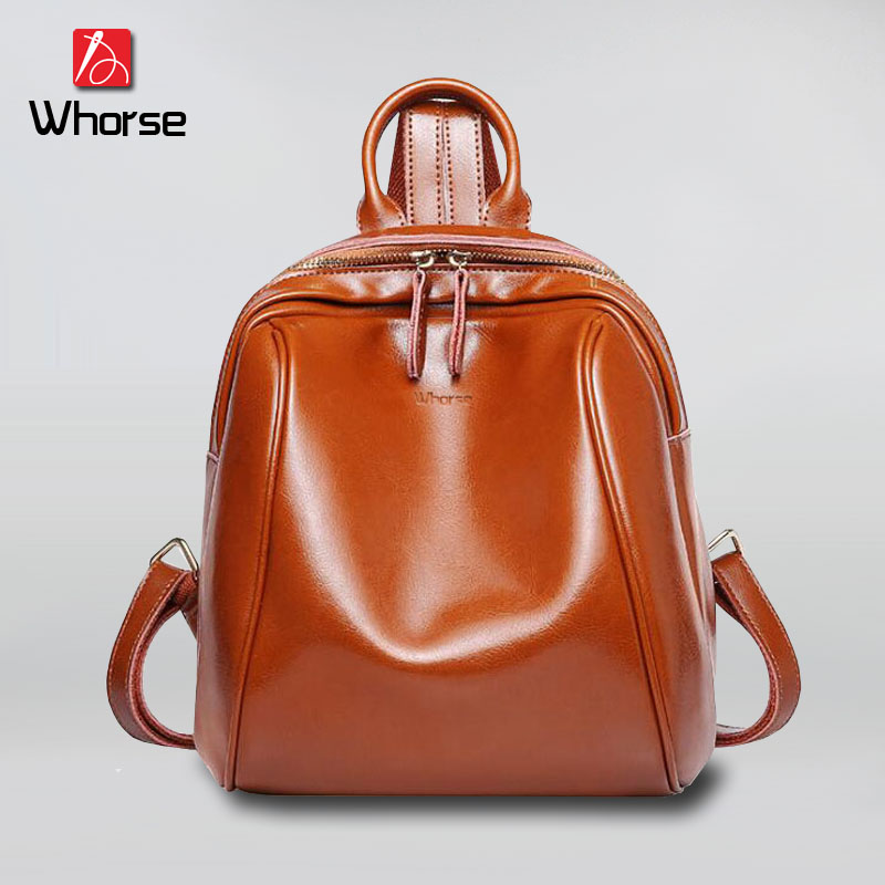 [WHORSE] Women Genuine Cowhide Leather Backpack High Quality School Travel Bags For Teenagers Girls Top-handle Backpacks W0870