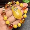 Certificada 14 k bola de ouro âmbar natural e cera de abelha pulseira para pulseiras das mulheres