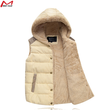 New Winter&Autumn Plus Size Vest Leisure Women And Men'S Models Velvet Waistcoat Warm Hooded Jacket Solid Color  YL0403c