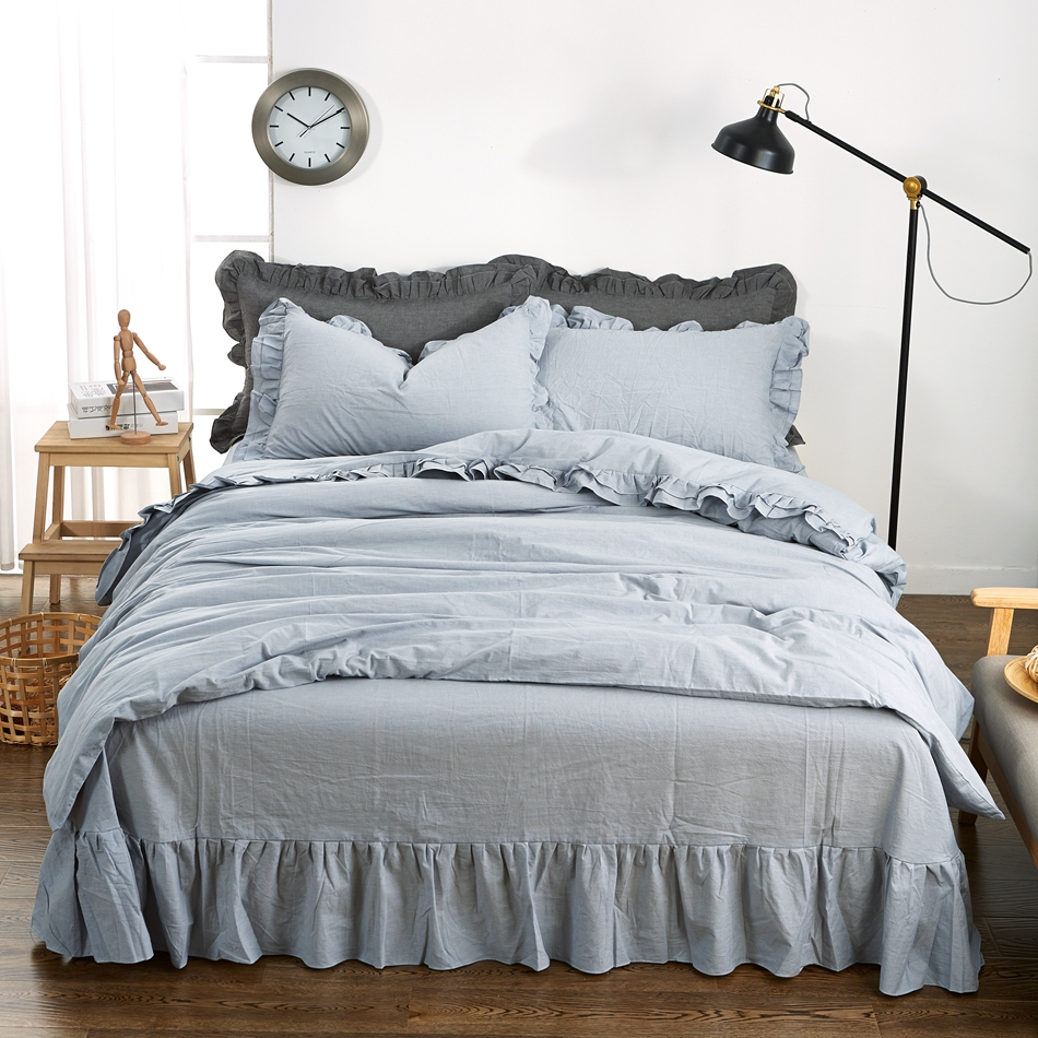 Blue Solid Color Duvet Cover Set Queen King Size Adults