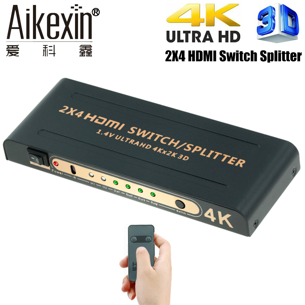 Aikexin 4K HDMI Splitter 2x4 with IR Remote 2 IN 4 OUT HDMI Switch Splitter Support Ultra HD 4K Full HD 1080P HDMI1.4 Switch new ultra hd 4k hdmi splitter full hd 3d 1080p video hdmi switch switcher 1x2 split 1 in 2 out amplifier dual display 2 color