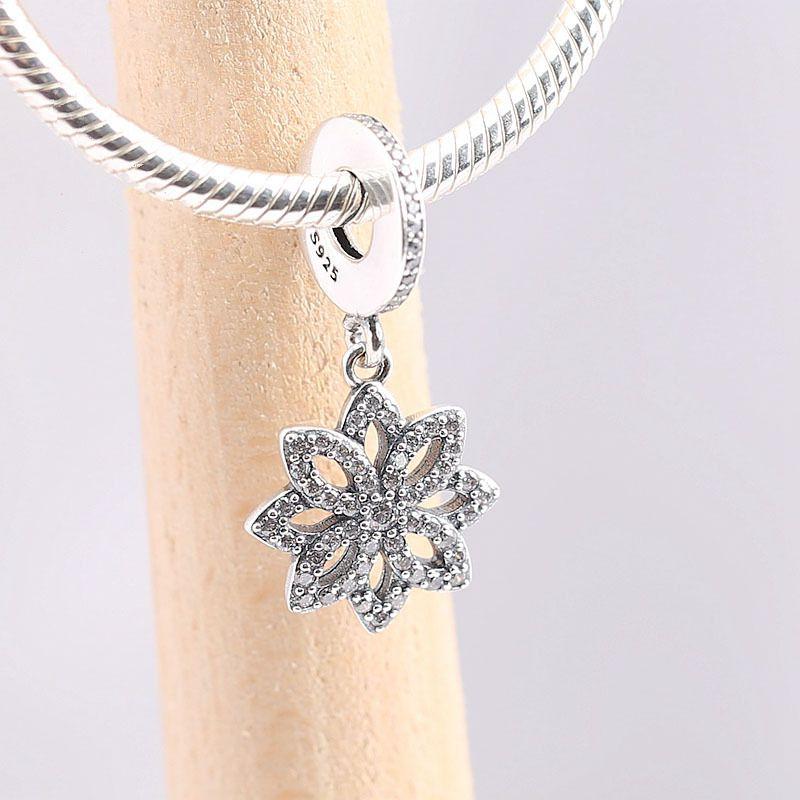 925 Sterling Silver Pendant Bead Ice Flower Zirconia & Silver Hanging Charm Fit Pandora Bracelet Bangles Women DIY Jewelry Gift
