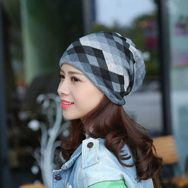 Women Winter Knit Running Cap Polyester Casual Sports Cap Women Slouchy Beanie Hats Two Used Female Scarf Cap Fashion Beanies