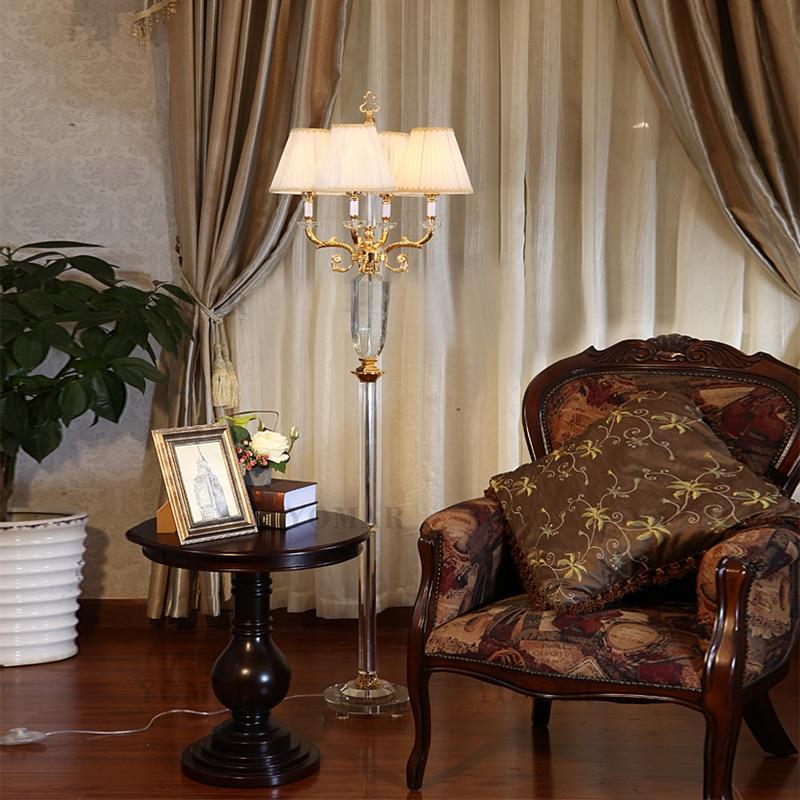 Bedroom Floor Lamp Reading Light Modern Bedside Crystal Lights Handmade Living