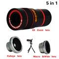 Profesional teléfono 5en1 cámara kit de lentes lentes 8x teleobjetivo + fisheye gran angular macro trípode para samsung galaxy s5 s6 s7