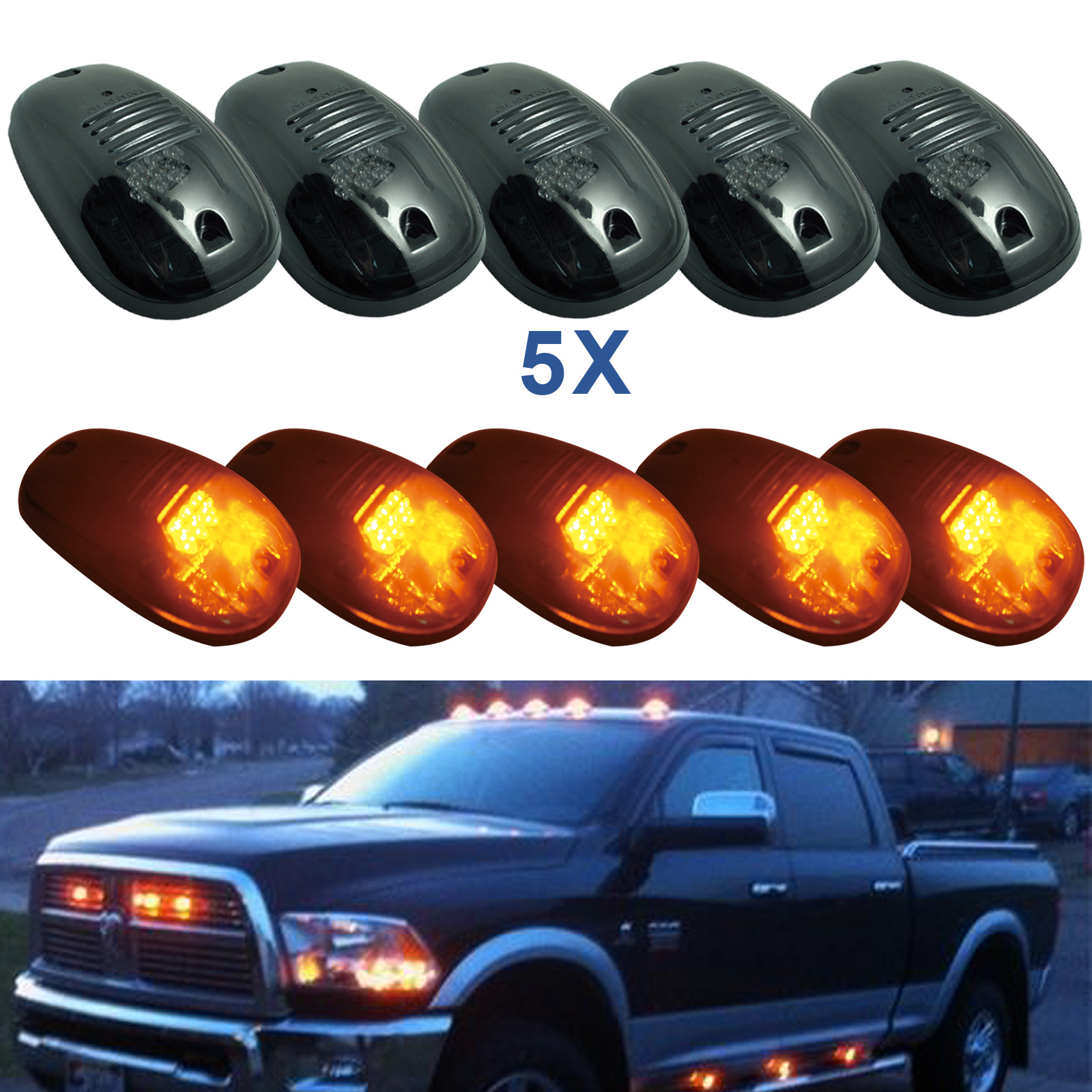 ФОТО 5pcs Car Smoked Amber Car LED Cab Roof Running Side Marker Clearance for Light Truck SUV