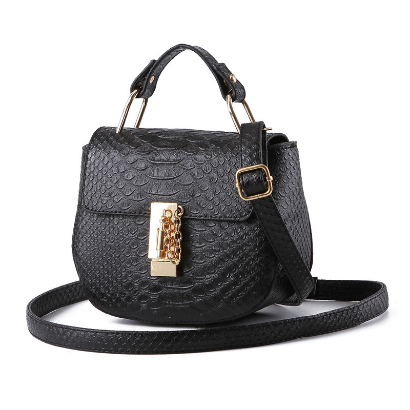 Small Multifunction Black PU Women Handbag Casual Shoulder Bag Crossbody Messenger Lock Zipper fn01 multifunction canvas shoulder bag handbag backpack for women khaki