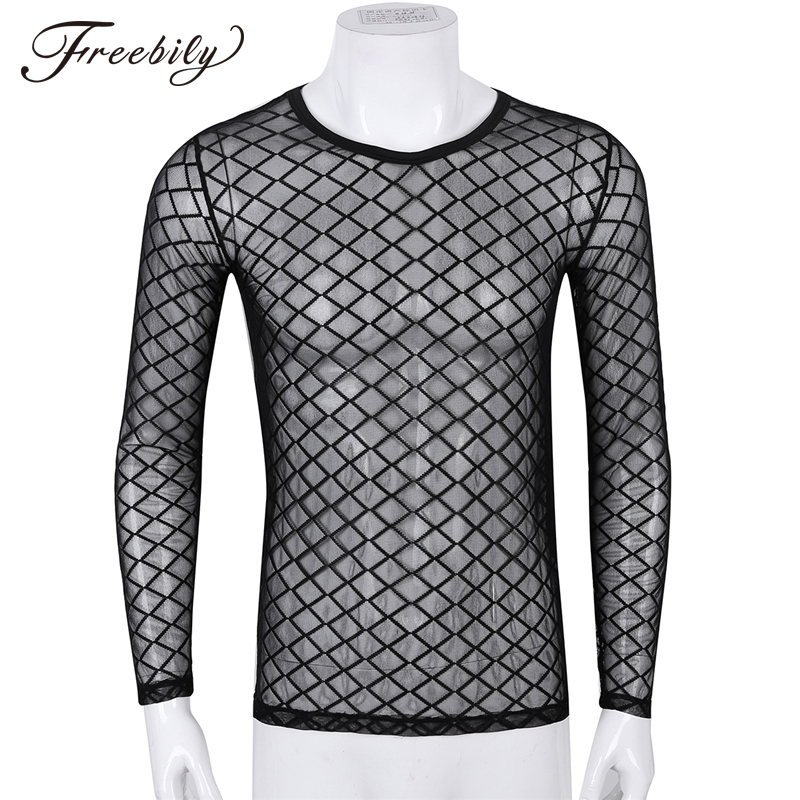Men's T-shirts 2019 Transparent Mesh Long Sleeve T Shirt Men Sexy See Through Tops Gay Wear Exotic Male Tshirt Undershirt Tees