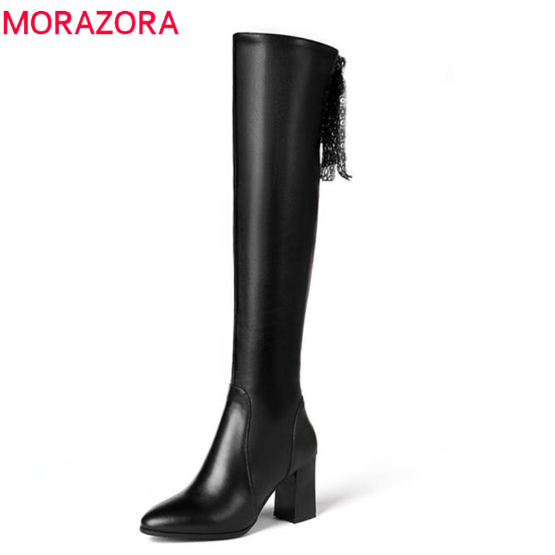 MORAZORA 2018 top quality genuine leather boots round toe short plush autumn winter over the knee boots high heels shoes woman morazora 2018 top quality genuine leather boots round toe short plush autumn winter ankle boots for women zip square heel shoes