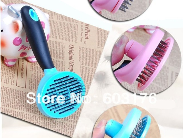 Free Shipping Pet necessary Cat Dog Self-Cleanly Massage Steel Pin Brush Auto Shedding Fur Tools Comb