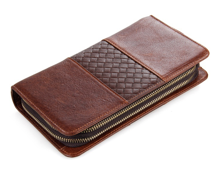 8070C luxe nouveaux portefeuilles pour hommes Double fermeture à glissière pochette pour hommes en cuir véritable pochettes