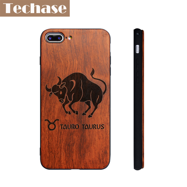 Techase Wooden Phone Cases For iPhone 7 plus Case Rosewood Laser